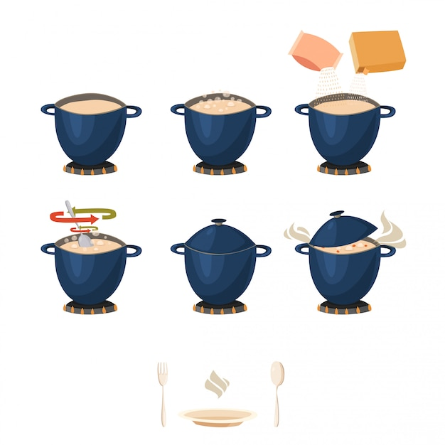 Visual phased cooking instruction Free Vector
