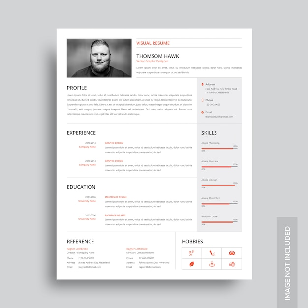 visual resume template vector