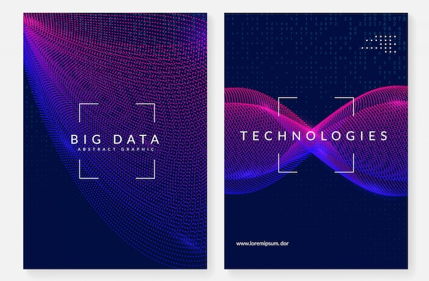 Visualization cover design. technology for big data Premium Vector