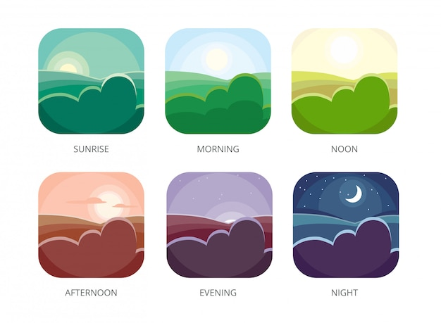 Visualization of various timeday, morning, noon and night, flat style  sunrise and afternoon, evening landscape Premium Vector
