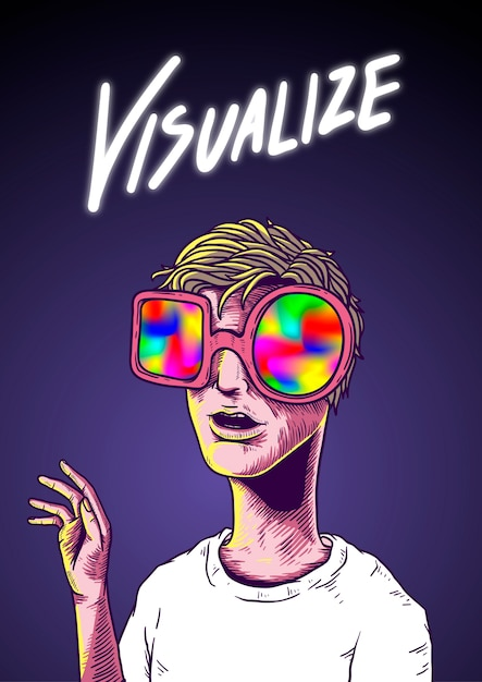 Visualize word illustration drawing concept Premium Vector