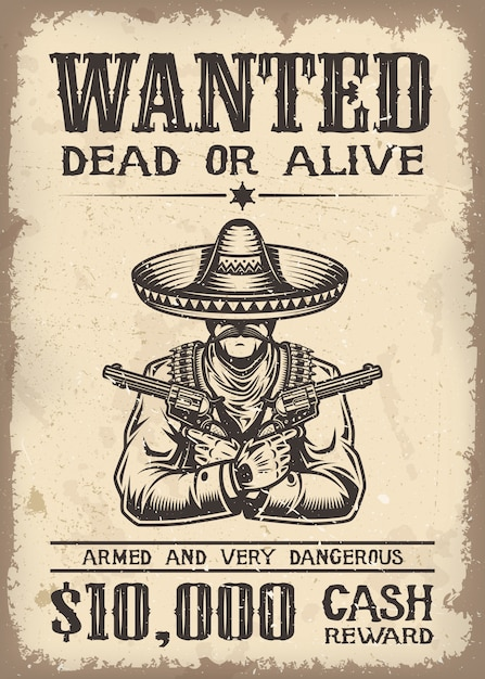 Vitage wild west wanted poster with old paper texture backgroung Free Vector