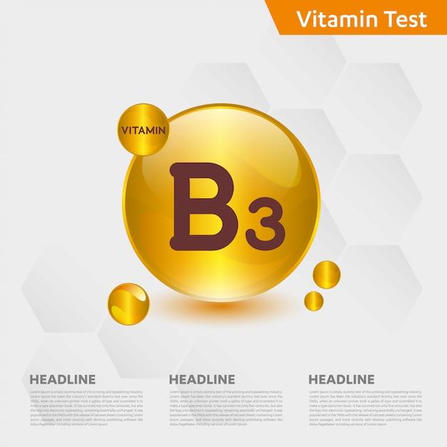 Vitamin b3 infographic template Premium Vector