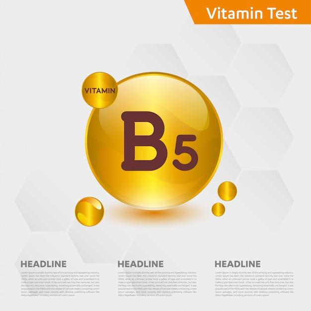Vitamin b5 infographic template Premium Vector