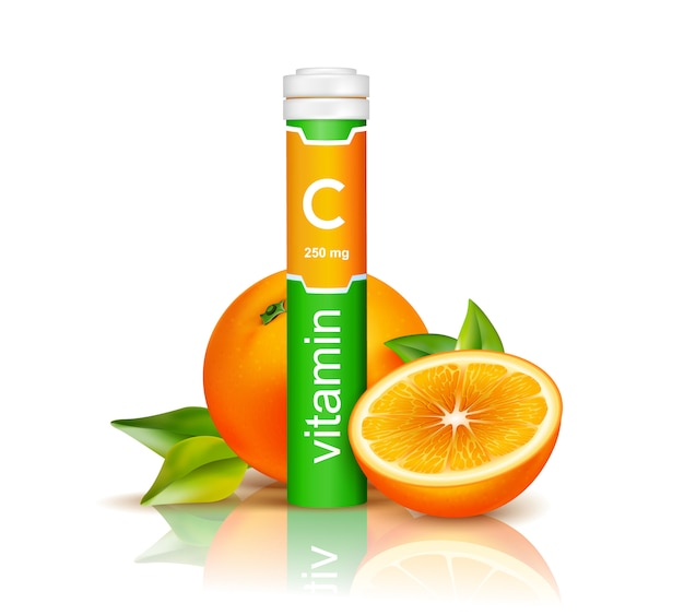 Vitamin c in colorful plastic container and oranges with green leaves on white background 3d Free Vector