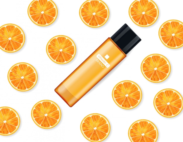 Vitamin c cream , beauty company, skin care bottle, realistic package mockup and fresh citrus, treatment essence, beauty cosmetics, white background vector banner Premium Vector
