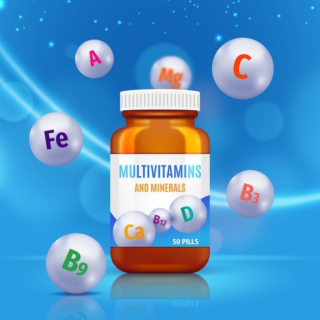 Vitamin complex container Free Vector