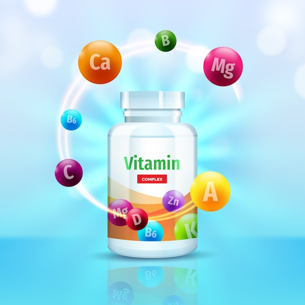 Vitamin complex package Free Vector