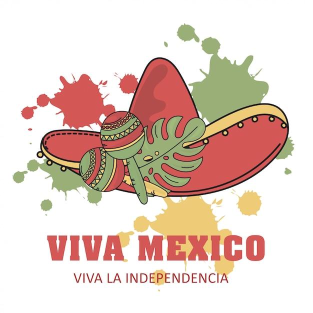 Viva independence mexican illustration set Premium Vector