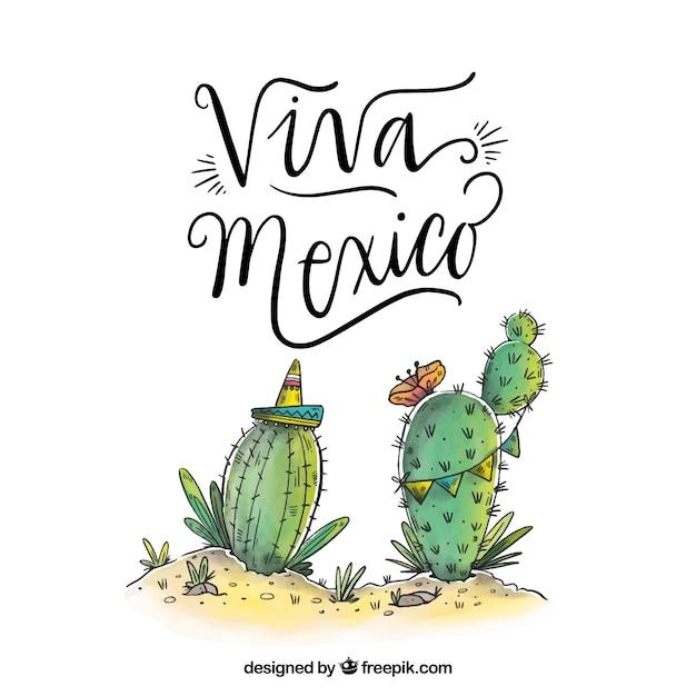 Viva mexico background Free Vector