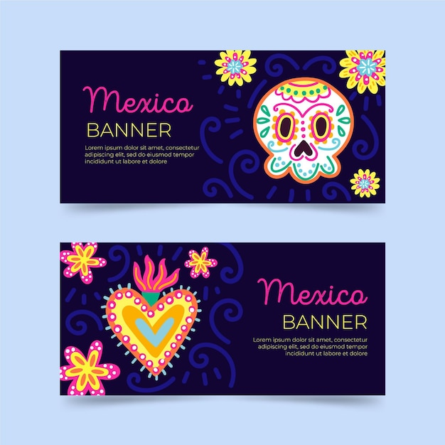 Viva mexico banners template Free Vector