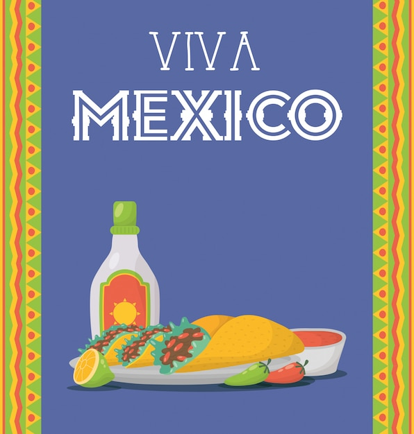 Viva mexico celebration with food and tequila bottle Premium Vector