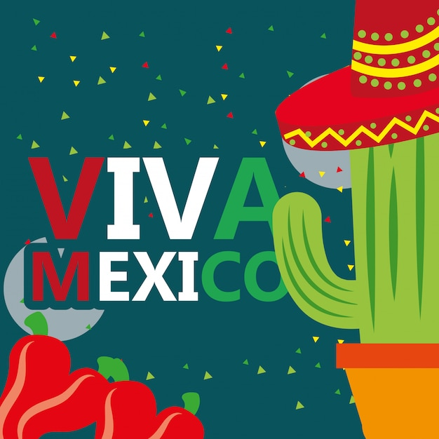 Viva mexico celebration Premium Vector