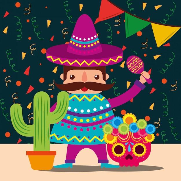 Viva mexico celebration Premium Vector