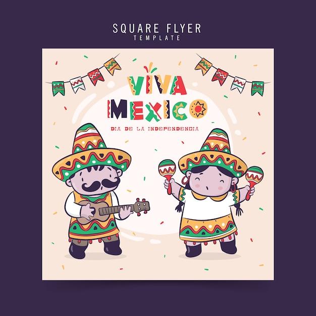 Viva mexico, dia de la independencia or independence day celebration, square flyer design Premium Vector