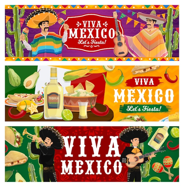 Да здравствует мексика, баннеры фиесты. музыканты марьячи в сомбреро и пончо играют. мексиканские блюда из перца чили халапеньо, гуакамоле с начос, текилы и лайма. фестиваль синко де майо Premium векторы