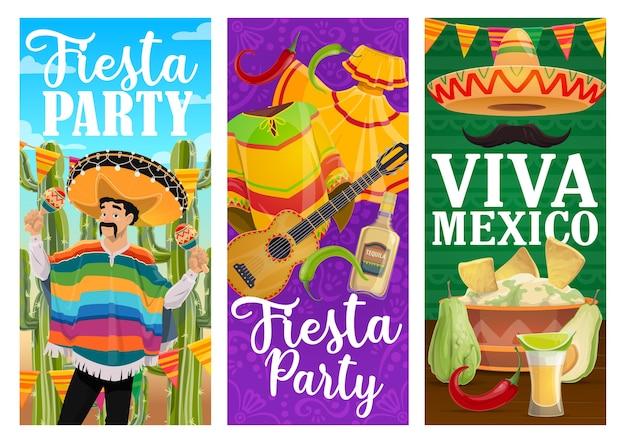 멕시코 휴가 음식과 카니발 마리아치와 함께 비바 멕시코 축제 파티 배너. 프리미엄 벡터