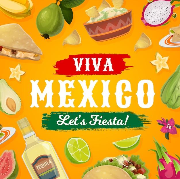 ビバメキシコフィエスタパーティーの食べ物と飲み物。メキシコのタコス、テキーラ、アボカドのワカモレとコーントルティーヤのナチョス、ケサディーヤ、グアバ、ライム、ブーゲンビリアの花、お祝いのポスター Premiumベクター