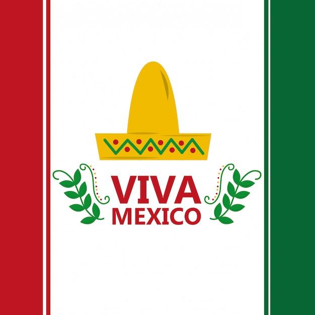 Viva mexico flag hat traditional costume image Premium Vector