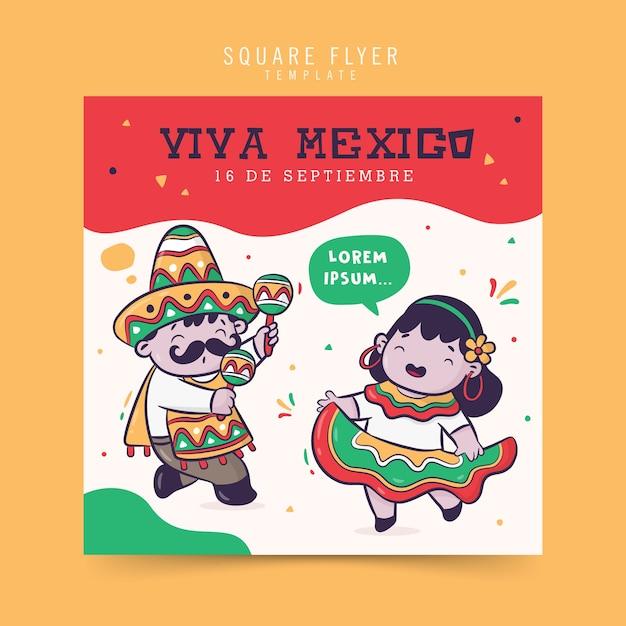 Viva mexico independence celebration, square flyer design Premium Vector