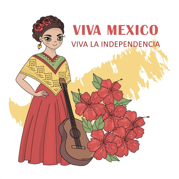 Viva mexico independence day illustration set Premium Vector