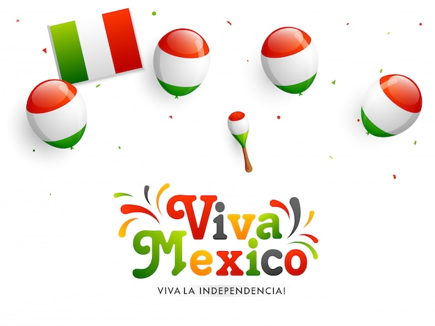 Viva mexico independent day celebration banner Premium Vector