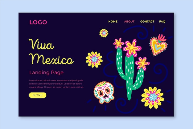 Viva mexico landing page template Free Vector