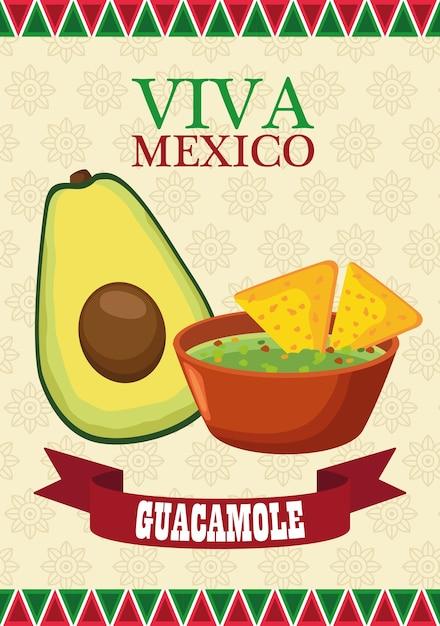 アボカドとワカモレとビバメキシコのレタリングとメキシコ料理のポスター。 Premiumベクター