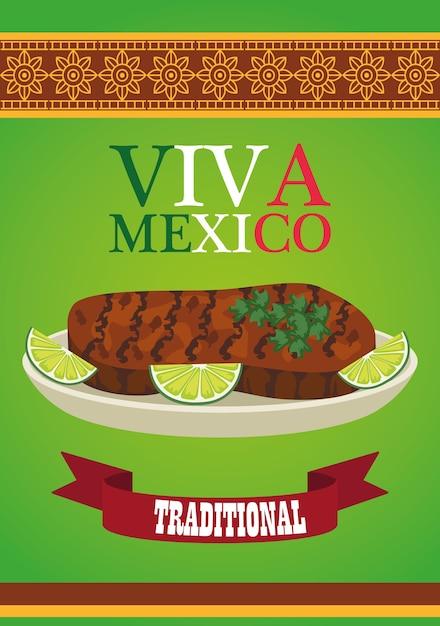 ビバメキシコのレタリングと牛肉のステーキとレモンのメキシコ料理のポスター。 Premiumベクター