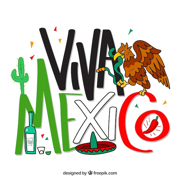 Viva mexico lettering background with eagle Vector | Free