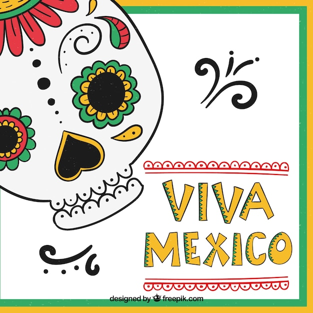 Viva mexico lettering background with skull Free Vector