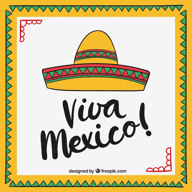Viva mexico lettering background with sombrero Free Vector