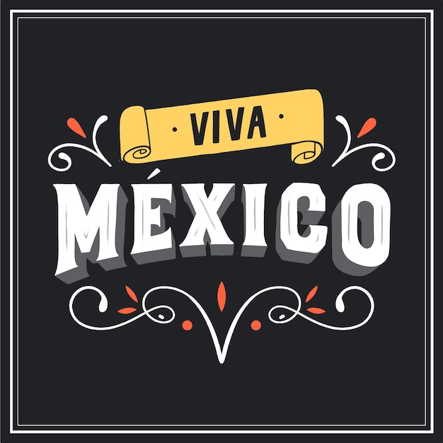Viva mexico lettering with ornamental elements Free Vector