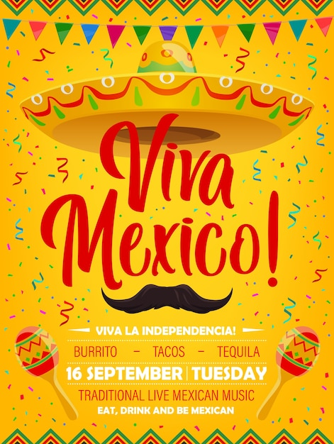 Viva mexico  poster with mexican symbols sombrero, mustaches and maracas. cartoon flyer with flag garlands and confetti, invitation for festival of traditional live music party, mexico holiday Premium Vector
