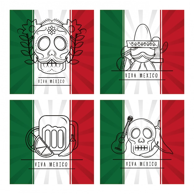 Viva mexico traditional card Premium Vector