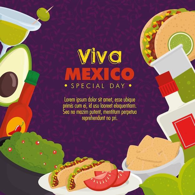 Viva mexico. день мертвого праздника с едой Бесплатные векторы