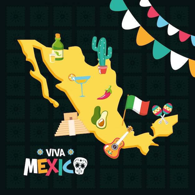 Мексиканские элементы для viva mexico Бесплатные векторы