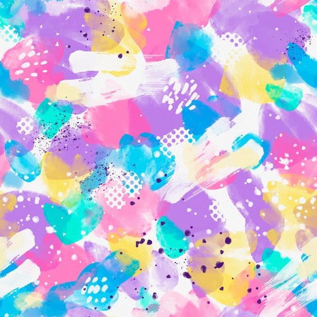 Colori vivaci acquerello astratto seamless pattern Vettore gratuito