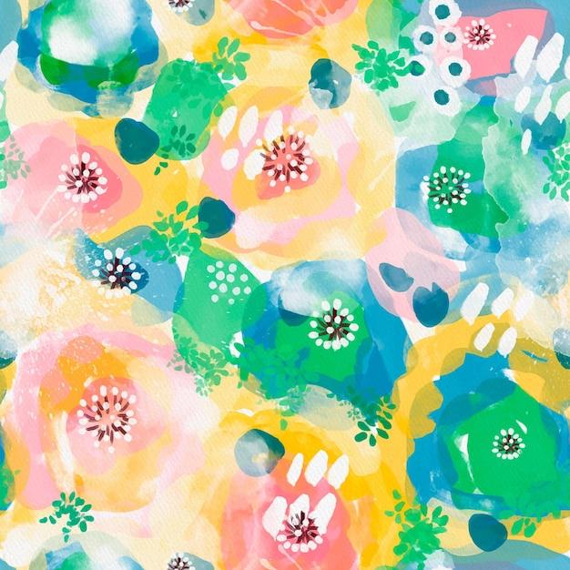 混雑した抽象的な水彩画のシームレスなパターンの鮮やかな色 無料ベクター