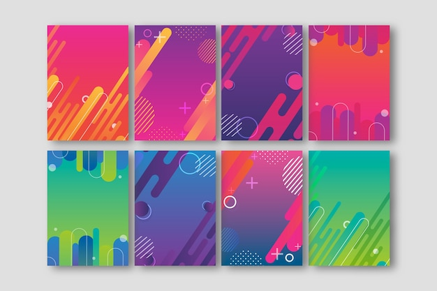 Vivid-coloured abstract shapes cover collection Free Vector