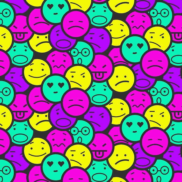 Vivid coloured smile emoticons pattern Free Vector