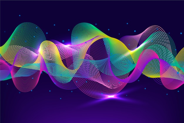 Vivid-colourful equalizer music waves background Free Vector