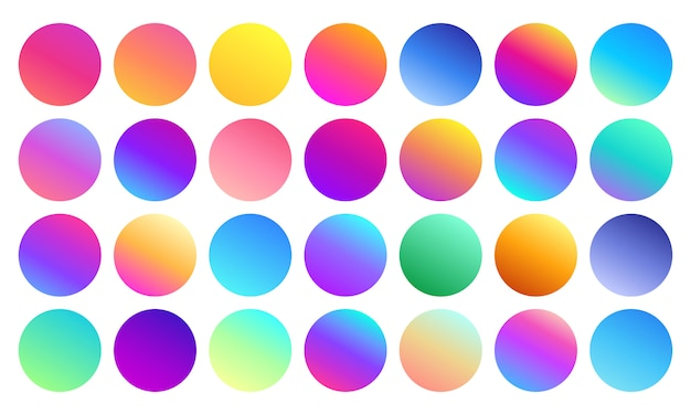Vivid gradient spheres. minimalist multicolor circles, abstract 80s vibrant colors and modern gradients sphere isolated  set Premium Vector