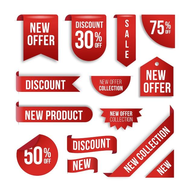 鮮やかな赤の現実的な販売ラベルコレクション Premiumベクター