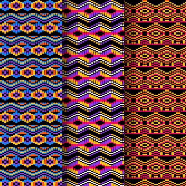 Vivid shapes of songket seamless pattern template Premium Vector
