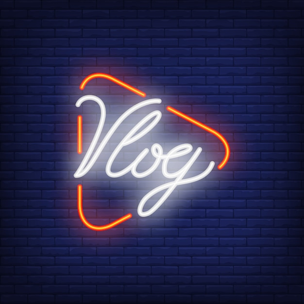 Vlog neon sign on brick wall. bright lighting text on play button. Free Vector