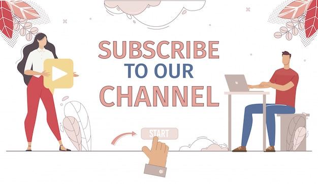 Vloggerチャンネルサブスクリプションフラットwebページ Premiumベクター