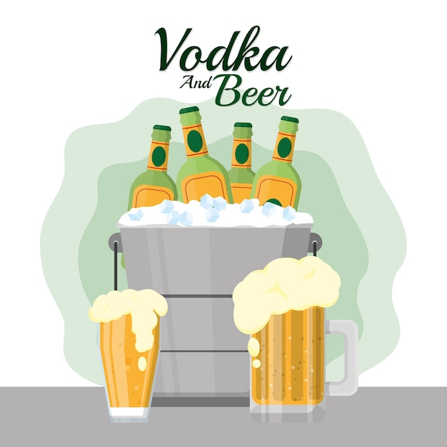 Vodka and beer bar drinks Premium Vector