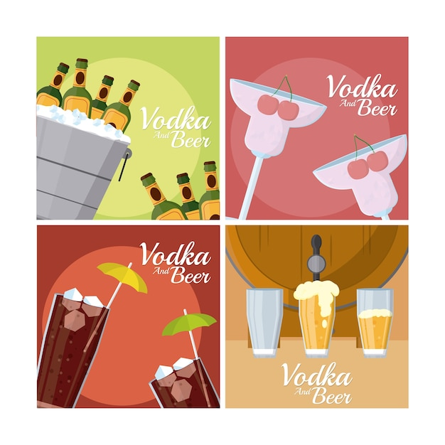 Vodka and beers square frames collection Premium Vector