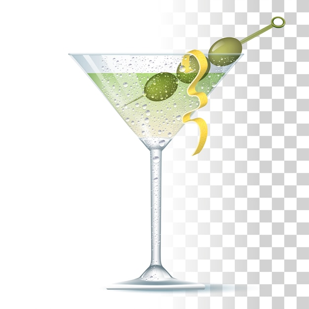 Vodka martini cocktail Premium Vector